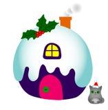 Illustration eines Hauses mit Schnee und der Weihnachtskatze auf einem weißen Hintergrund Stockbilder