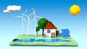 Illustration eines Hauses, Windkraftanlagen, Sonnenkollektoren auf einem Grün Quadrat Stockbild