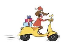 Illustration eines Hundes, der ein Moped mit Geschenken, ein Tier reitet Lizenzfreies Stockfoto