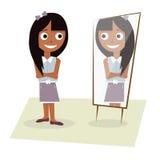 Illustration eines jungen Mädchens steht vor dem Spiegel Lizenzfreie Stockfotos