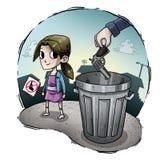 Illustration eines Kindes gegen Waffen stockbilder