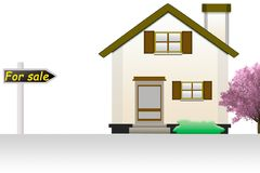 Illustration eines kleinen Landhauses zu verkaufen auf einem weißen backgr Stockfotos