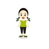 Illustration eines lächelnden jungen Mädchens auf einem weißen Hintergrund Stockfotos