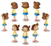 Ein Mädchen, das einen Kreis bildet Stockbilder