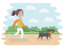 Illustration eines Mädchens, das ihren Hund für einen Weg nimmt Lizenzfreies Stockfoto
