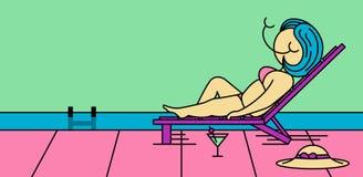 Illustration eines Mädchens, das im Urlaub durch das Pool liegt Lizenzfreies Stockfoto
