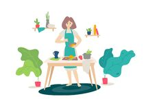 Illustration eines Mädchens in einem Schutzblech kochend in der Küche Vektor Flache Karikaturart Frau am Kochen Selbst gemachtes  vektor abbildung
