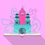 Illustration eines Märchenschlosses eines offenen Buches im flachen Design stock abbildung