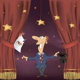 Illustration eines Magiers mit Spielkarten Stockfotos