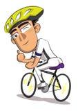 Illustration eines Mannes, der Fahrrad auf einen weißen Hintergrund fährt lizenzfreie abbildung