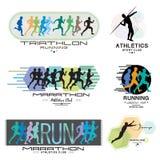 Illustration eines Marathons Plakat - Triathlon, Sprint, Lauf Lassen Sie Logo laufen stockfoto