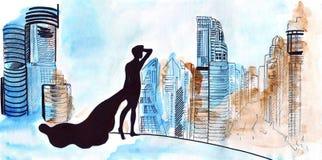 Illustration eines Modells in einem langen Kleid, das vor großen Nachtansichten der Stadt mit hohen Wolkenkratzern steht Lizenzfreie Stockfotografie