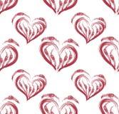 Illustration eines nahtlosen Musters des roten Herzens formte Stockfoto