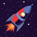 Illustration eines netten Karikaturraketen-Raumschiffs lokalisiert auf sternenklarem Hintergrund lizenzfreie abbildung