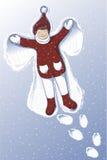 Illustration eines netten Mädchens, das Schnee-Engel macht Stockbilder