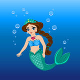 Illustration eines netten Meerjungfraumädchens unter dem Meer Stockbilder