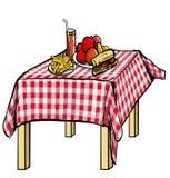 Illustration eines Picknicktischs mit Lebensmittel auf ihm Lizenzfreie Stockfotos