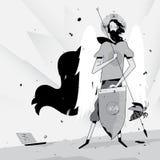 Illustration eines Programmierers im Bild eines Heiligen Auch im corel abgehobenen Betrag Der Programmierer fängt Fehler und Wanz vektor abbildung