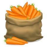 Illustration eines Sacks Karotten auf einem weißen Hintergrund Vektor Stockbilder