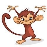 Illustration eines Schimpansecharaktertanzens mit den Händen oben stockfotos