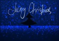 Illustration eines schneebedeckten Abends des Winters mit dem Schattenbild eines Weihnachtsbaums, Grußkarte Hintergrund froher We Stockfotografie