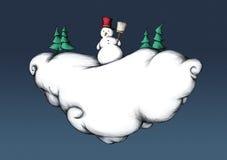 Illustration eines Schneemannes auf einer Winterwolke stock abbildung