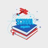 Illustration eines ` Schulewieder ` mit dem Bild des Buchfliegens des Flugzeugs und der ausgestrichenen Linien Lizenzfreie Stockbilder