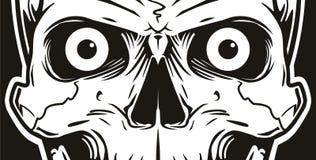 Illustration eines Schwarzweiss-Schädels, der die Seele untersucht stock abbildung