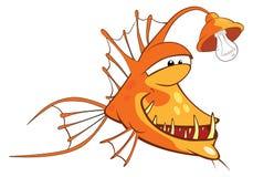 Illustration eines Seeteufels Tiefwasserfische Hundekopf mit einem netten glücklichen und unverschämten Lächeln getrennt auf eine Stockfoto