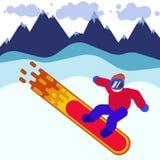 Illustration eines Snowboarders in der Maske unter Bergen in der Sportkleidung auf einem brennenden Brett, Wintersport Stockfotos