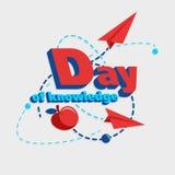 Illustration eines ` Tages von Wissen ` mit dem Bild des Apfels, dem Fliegen des Papierflugzeugs und den ausgestrichenen Linien Stockbild