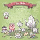 Illustration eines Teesatzes mit einem Glas Stau, Muffins, Torten und Hörnchen Stockbild