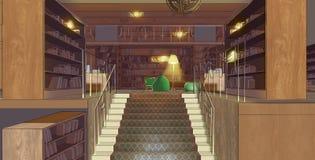 Illustration eines Treppenhauses in der Bibliothek Lizenzfreie Stockfotografie