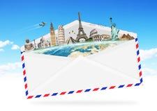 Illustration eines Umschlags voll des berühmten Monuments Lizenzfreie Stockbilder