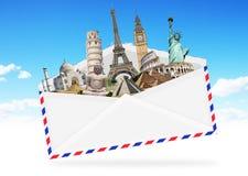 Illustration eines Umschlags voll des berühmten Monuments Lizenzfreie Stockfotos