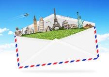 Illustration eines Umschlags voll des berühmten Monuments Lizenzfreies Stockbild