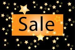 Illustration eines Verkaufs auf einem schwarzen Hintergrund mit gol Stockbilder