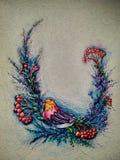 Illustration eines Vogels auf einer Niederlassung mit Blumen und Beeren stockfotografie