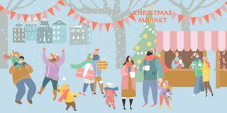 Illustration eines Weihnachtsmarktes mit glücklichen Menschen stockfoto
