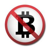 Illustration eines Zeichens, das ein Symbol des bitcoin verbietet lizenzfreie abbildung