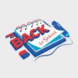 Illustration eines ` zurück zu Schule-` mit dem Bild des Übungsbuches, -radiergummis und -stiftes Lizenzfreie Stockbilder