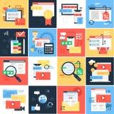 Illustration eingestellt über digitales Marketing und E-Commerce stockbilder