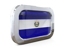 Illustration EL Salvador Button Flag 3D lizenzfreie abbildung