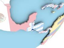 El Salvador with flag. Illustration of El Salvador on political globe with embedded flag. 3D illustration royalty free illustration