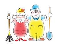 Illustration of an elderly couple Royalty Free Stock Photos
