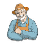 Illustration of an elderly man in a hat Stock Photos