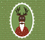 Illustration of an elderly stag with a beard, glasses and a cardigan in a patterned frame. Illustration of an elderly stag with a beard, glasses and a red Royalty Free Stock Photos
