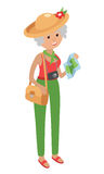 Illustration of elderly woman on a trip white background. stock illustration