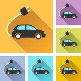 Electric car set icons stock illustration