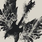 Illustration with an electric guitar and wings. Vector illustration with an electric guitar and wings with splashes and curls in grunge style Royalty Free Stock Photos